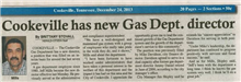 Gas Director Jeff Mills Newspaper Article December 2013