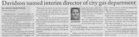 Davidson Interim Gas Director 2006 Newspaper Article