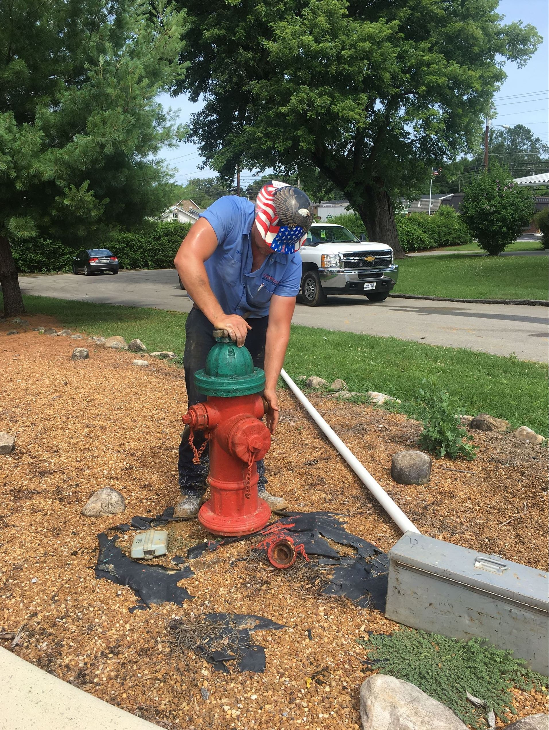 Water Service Crewman Servicing Hydrant