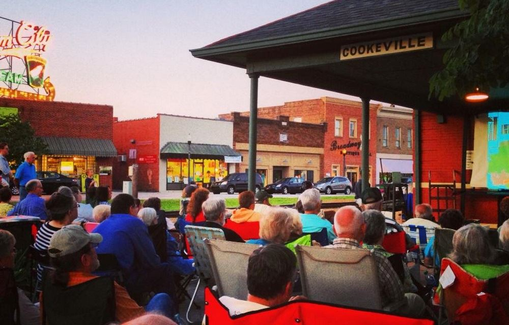 People gather for Depot Summer Cinema
