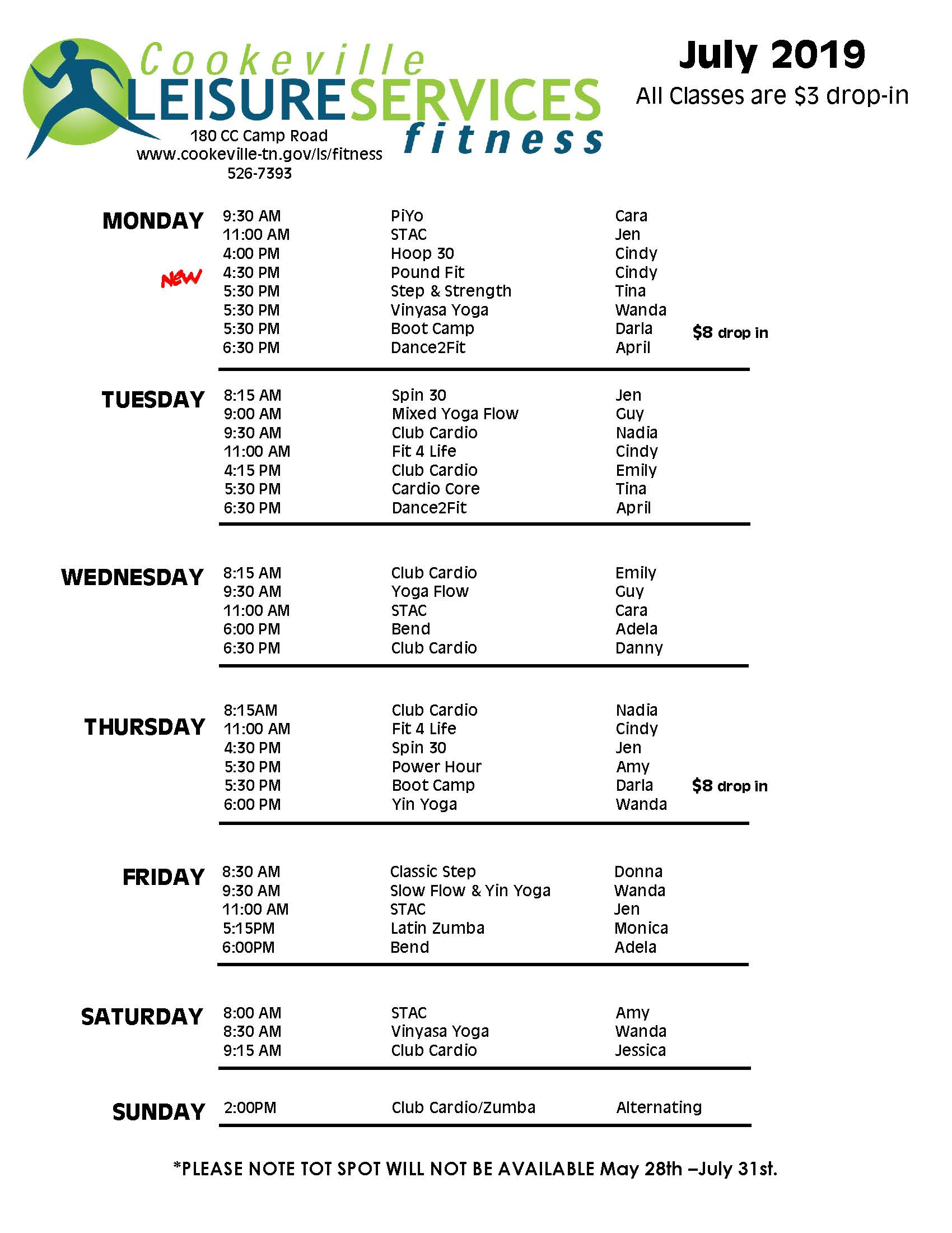 July fitness schedule