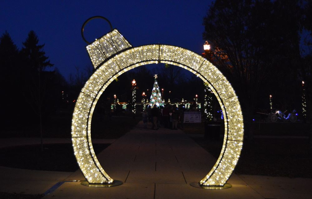 Lighted ornament arch at Dogwood Park